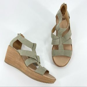 Dr Scholl's Later Sage Green Cutout Wedge Sandals